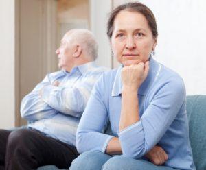 elder couple in a conflict